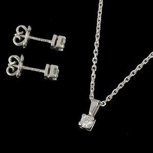 Expertissim - parure en or blanc et diamants - Conjunto De Joyas