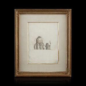 Expertissim - attribué à giacomo quarenghi. coupe sur la coupole - Dibujo Con Tinta
