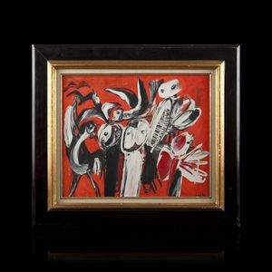 Expertissim - yannis gaitis. personnages et oiseaux fond rouge,  - Obra Contemporánea