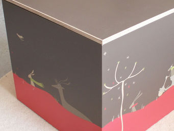 ICI LA TERRE - coffre à jouets en bois - kyoto napoli cube - Baúl Para Juguetes