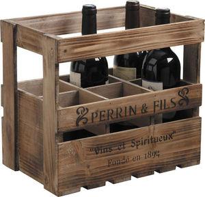 Aubry-Gaspard - caisse à vin 6 bouteilles en bois 33x21x29cm - Cajón Para Botellas