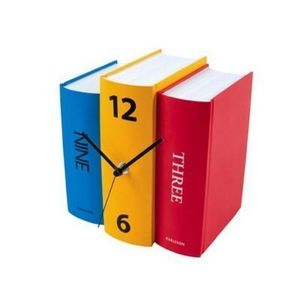 Present Time - horloge livres colorés - Reloj De Pared
