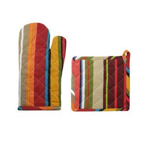 WHITE LABEL - gant et manique motif bayadère en coton - Manopla De Horno