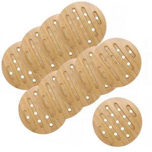 WHITE LABEL - dessous de plat ronds en bambou - Salvamantel