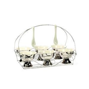 WHITE LABEL - service à dessert précieux en porcelaine pour 6 go - Copa De Helado