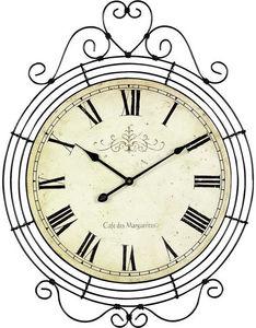 AUBRY GASPARD - horloge café des marguerites en métal 48x62cm - Reloj De Pared