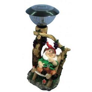 CODEVENT - statuette nain de jardin lampe solaire veste verte - Enano De Jardín