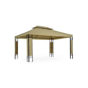 WHITE LABEL - tonnelle de jardin pavillon métal 4x3 cappucino - Cenador