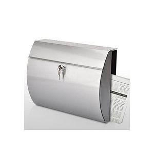 WHITE LABEL - boîte aux lettres murale acier brossé - Buzón