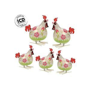 ICD COLLECTIONS - coq valerie formé fleur rose - Animales De Granja (juguetes)