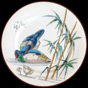 Au Bain Marie - assiette en tôle vieillard canard - Plato Decorativo