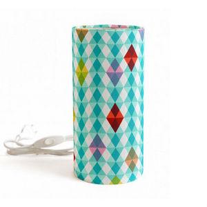MADEMOISELLE DIMANCHE - kaleidoscope - lampe à poser tube tissu motifs ble - Lámpara De Sobremesa