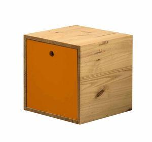 WHITE LABEL - cube de rangement en pin massif avec couvercle an - Caja Para Ordenar