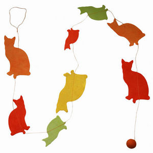 Lamali - guirlande chats en papier lokta 150cm jaune - Guirnalda