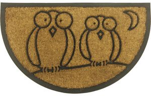 Aubry-Gaspard - paillasson demi-lune hiboux 75x45cm - Felpudo