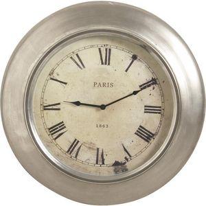Aubry-Gaspard - pendule paris 1863 en métal brossé - Reloj De Pared