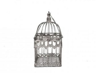 Demeure et Jardin - cage décorative en fer forgé patinée gris clair vi - Jaula De Pájaros