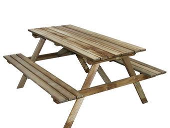 CEMONJARDIN - table pique-nique en bois 4 places marly - Mesa De Picnic
