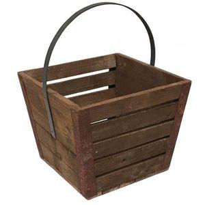 CHEMIN DE CAMPAGNE - grand casier caisse en bois de cuisine - Cesta De Jardinería