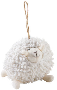 Aubry-Gaspard - mouton à suspendre en coton blanc shaggy - Peluche
