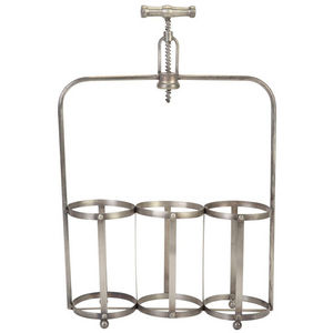 La Chaise Longue - rangement 3 bouteilles tire-bouchon en métal 35x11 - Botellero