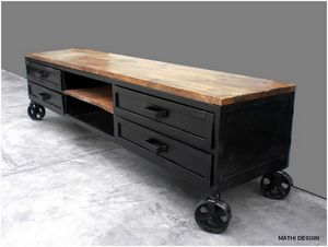 Mathi Design - meuble tv industriel 180 - Mueble Tv Hi Fi