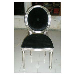 DECO PRIVE - chaise médaillon style louis xvi argenté et velour - Silla Medallón