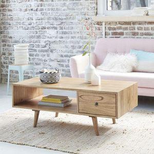 BOIS DESSUS BOIS DESSOUS - table basse en bois de mindy avec tiroir 120 oslo - Mesa De Centro Rectangular