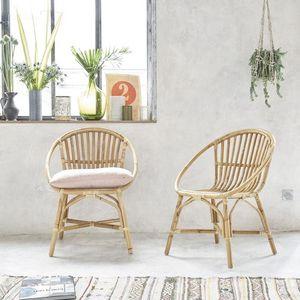 BOIS DESSUS BOIS DESSOUS - lot de 2 fauteuils en rotin vintage - Sillón