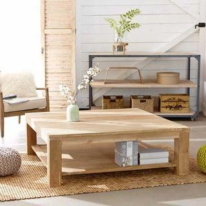 BOIS DESSUS BOIS DESSOUS - table basse en bois de teck 120 boston - Mesa De Centro Cuadrada