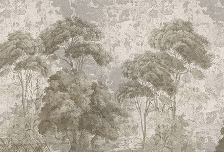 Ananbô - Papel pintado panorámico-Ananbô-Pins et oliviers grisaille sépia Patine XVIIIème