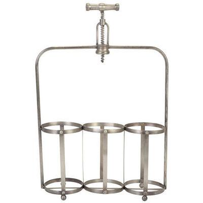 La Chaise Longue - Botellero-La Chaise Longue-Rangement 3 bouteilles tire-bouchon en métal 35x11