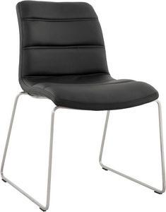 KOKOON DESIGN - chaise zénith en simili-cuir noir et acier 49x44x8 - Sedia
