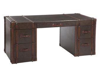 WHITE LABEL - bureau 5 tiroirs en bois - mappy - l 182 x l 82 x - Scrivania
