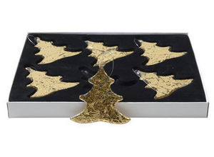 BELDEKO - 6 pendentifs en verre doré - Decorazione Per Albero Di Natale