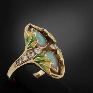 Expertissim - bague de style art nouveau, or, opales, diamants e - Anello