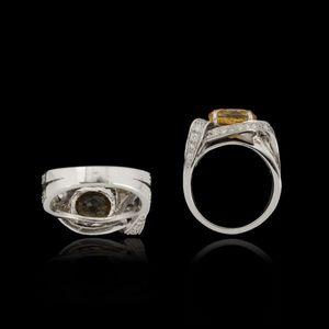 Expertissim - bague or, saphir jaune, 5.31 carats, et diamants - Anello