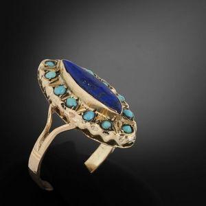 Expertissim - bague en or, turquoises et lapis lazuli - Anello