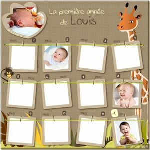 BABY SPHERE - pêle-mêle ma 1ère année - amis de la jungle - Cornice Multipla Bambino