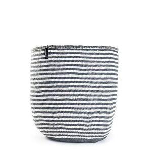 MIFUKO - kiondo à rayures grises sur blanc - Cestino Contenitore