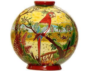 Emaux de Longwy 1798 - boule flo (oiseaux d'amérique) - Sfera Decorativa