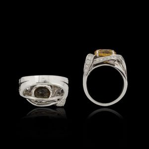 Expertissim - bague or, saphir jaune, 5.31 carats, et diamants - Anello