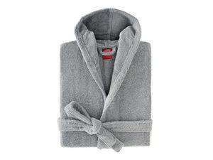 BLANC CERISE - peignoir capuche - coton peigné 450 g/m² gris - Accappatoio