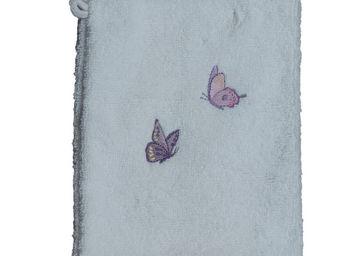 SIRETEX - SENSEI - gant eponge brodé butterfly coton - Guanto Da Bagno