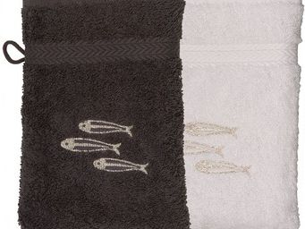 SIRETEX - SENSEI - gant eponge brodé sardines 550gr/m² coton - Guanto Da Bagno