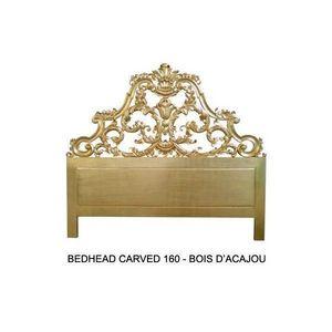 DECO PRIVE - tete de lit 160 cm en bois dore modele carved - Testiera Letto