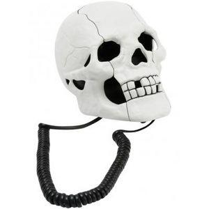 Present Time - téléphone tête de mort noir et blanc - Telefono Decorato