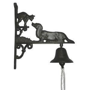 Aubry-Gaspard - cloche de jardin chien & chat en fonte 25x8,5x28,5 - Campanella Da Esterno