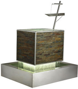 Cactose - fontaine balance en pierre de schiste et inox 116x - Fontana Per Esterno
