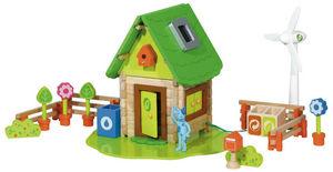 HOUSE OF TOYS - ma maison écologique en bois 105 pièces 28x20x13cm - Giocattolo Prima Infanzia